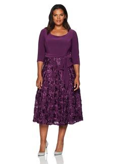 Alex Evenings Women's Plus Size Scoop Neck Tea Length Party Dress with Rosette Skirt