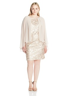 Alex Evenings Women's Plus Size Sequin Lace Capelet Cocktail Dress