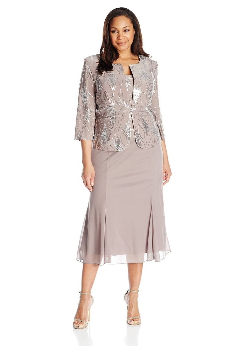 Alex Evenings Women's Plus-Size Sequin Mock Jacket with T-Length Dress pewter/frost