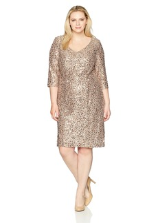 Alex Evenings Women's Plus-Size Short 3/4 Sleeve Dress with Cording Detail