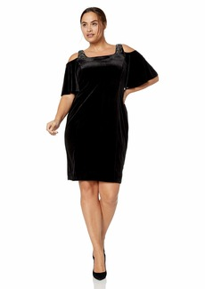 Alex Evenings Women's Plus Size Short Cold Shoulder Dress