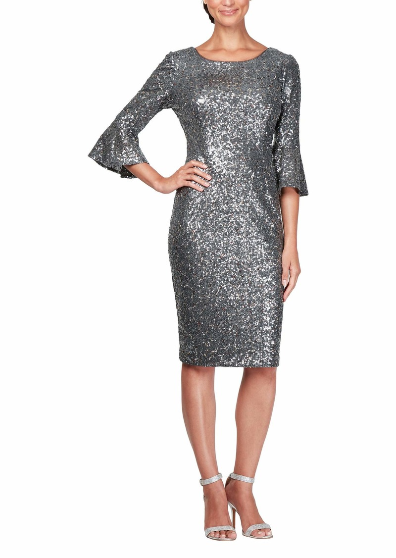 Alex Evenings Women's Plus Size Short Shift Dress with Bell Sleeves Gunmetal