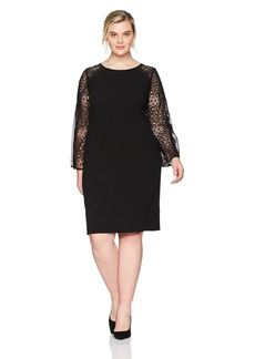 Alex Evenings Women's Plus Size Short Shift Dress With Illusion Bell Sleeves  W