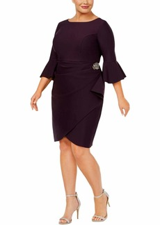 Alex Evenings Women's Plus-Size Short Slimming Sheath Dress with Bell Sleeves