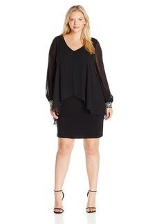 Alex Evenings Women's Plus Size Short V-NK Dress With Overlay and Beaded Sleeves