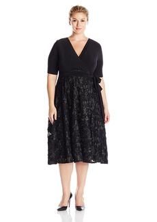 Alex Evenings Women's Plus Size T-Length Dress with Rosette Skirt  16W
