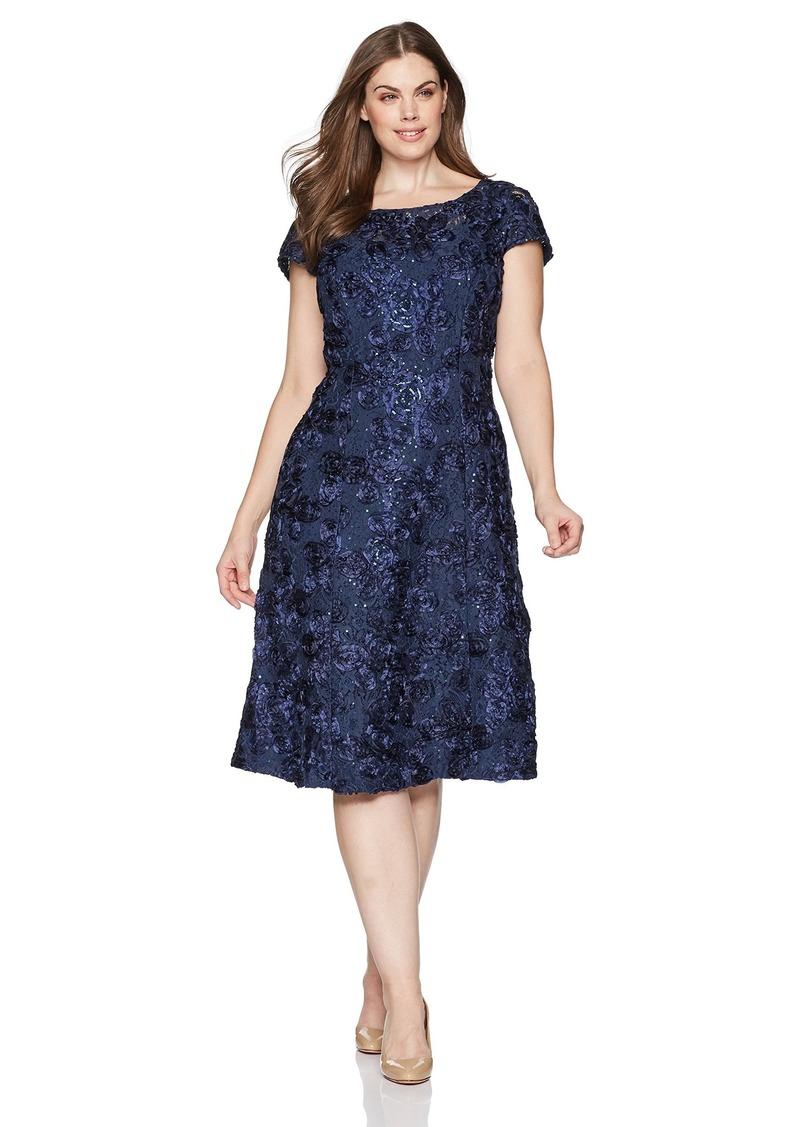 Alex Evenings Women's Plus-Size Tea Length Rosette Dress with Sequin Detail