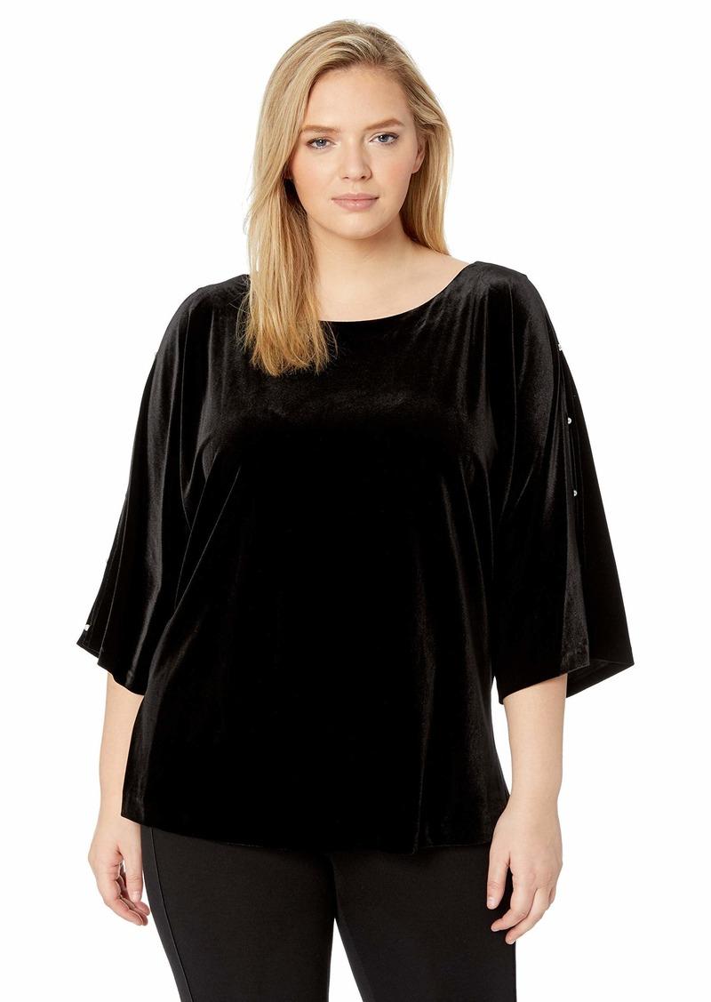 Alex Evenings Women's Plus Size Velvet Blouse Top Shirt (Multiple Styles)