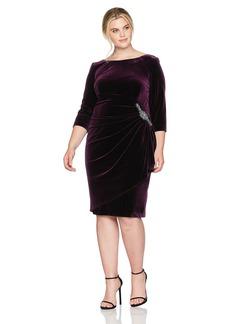 Alex Evenings Women's Plus Size Velvet Short Dress W/Hip Detail