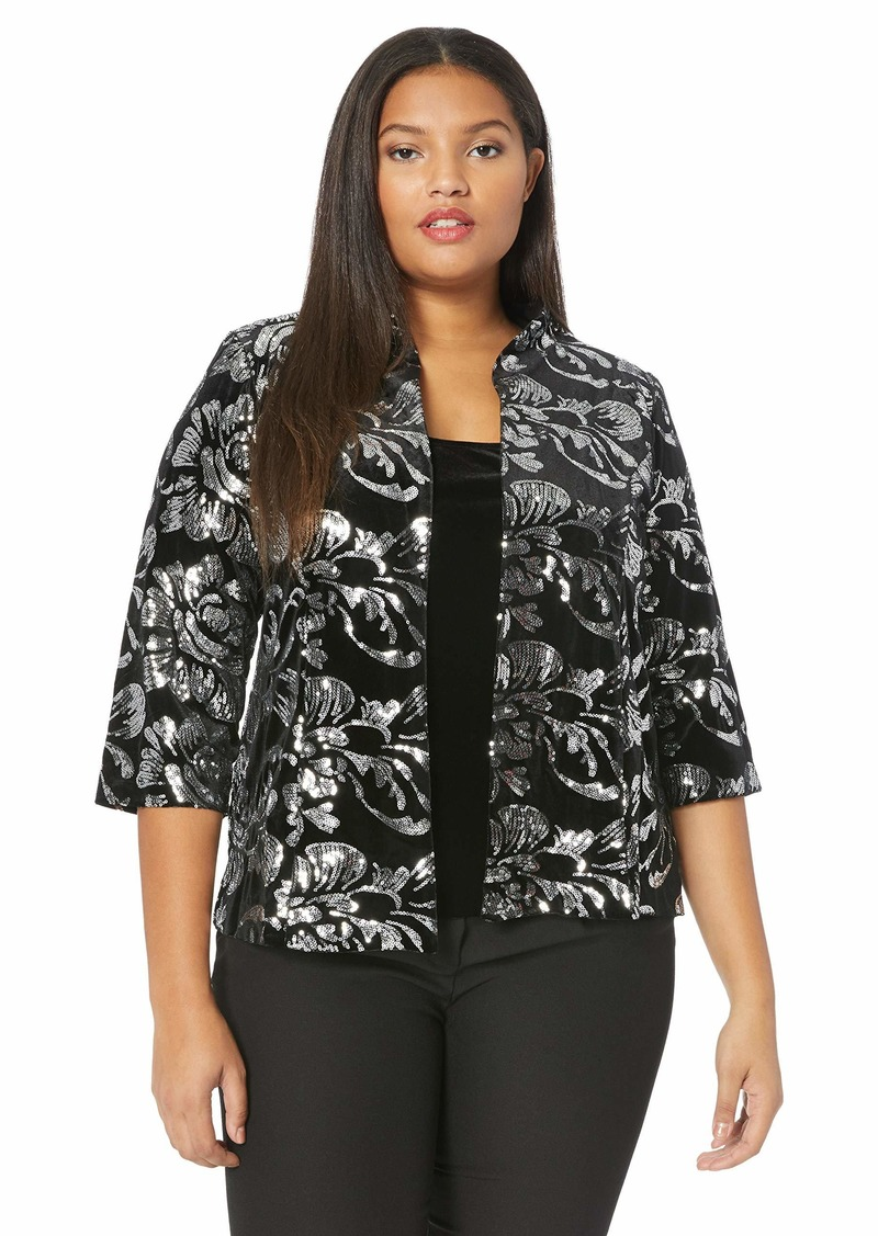 Alex Evenings Women's Plus Size Velvet Twinset Jacket and Tank Top