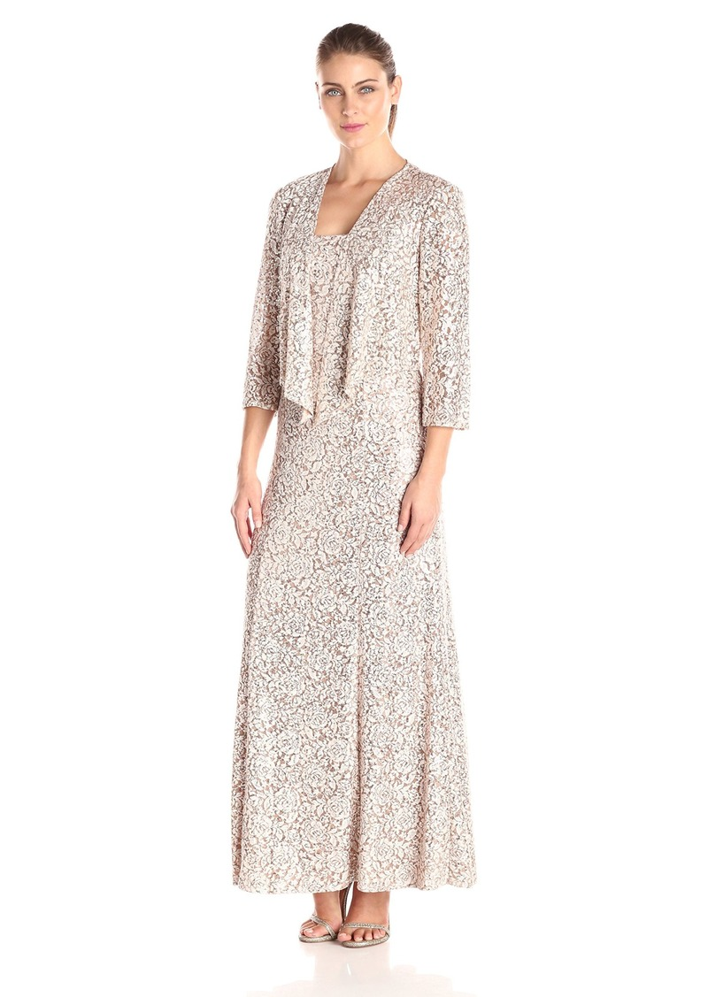 Alex Evenings Alex Evenings Women S Printed A Line Gown With