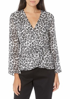Alex Evenings Women's Printed Chiffon Blouse with Embellished Side Closure  XL