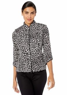 Alex Evenings Women's Printed Zip Jacket with Peplum Hem  M