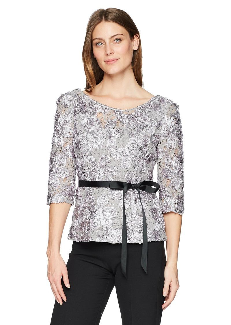 Alex Evenings Women's Rosette Blouse Shirt (Missy and Plus)  L