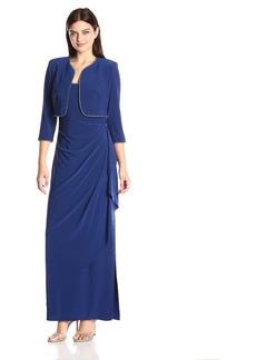 Alex Evenings Women's Ruched Dress with Rhinestone Trim Bolero Jacket
