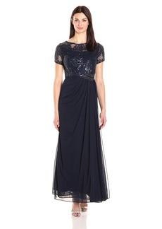 Alex Evenings Women's Sequin Lace Bodice Long Dress