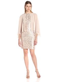 Alex Evenings Women's Sequin Lace Capelet Cocktail Dress