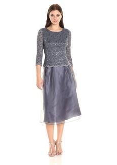 Alex Evenings Women's Sequin Lace Mock Dress (Petite and Regular Sizes)