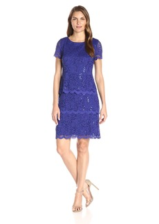 Alex Evenings Women's Shift Dress with Short Sleeves and Triple Tier Skirt
