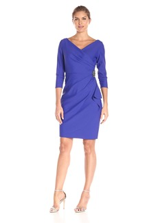 Alex Evenings Women's Short 3/4 Sleeve Dress with Cascade Ruffle Skirt