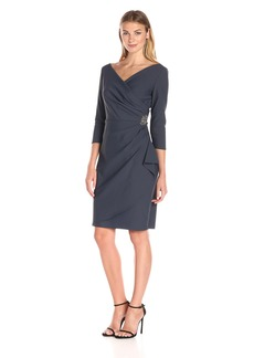 Alex Evenings Women's Short 3/4 Sleeve Dress with Cascade Ruffle Skirt