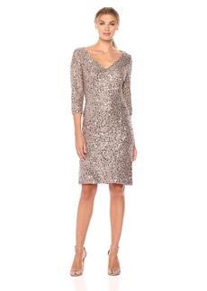 Alex Evenings Women's Short 3/4 Sleeve Dress with Cording Detail (Petite and Regular Sizes)