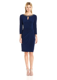 Alex Evenings Women's Short 3/4 Sleeve Dress with Keyhole Cutout and Neck Line