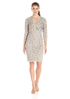 Alex Evenings Women's Short All Over Jacket Dress 3/4 Sleeve and Scallop Hem