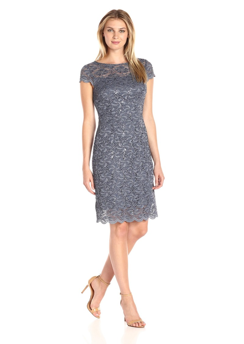 Alex Evenings Women's Short Cap Sleeve Dress with Illusion Neckline (Petite and Regular Sizes)