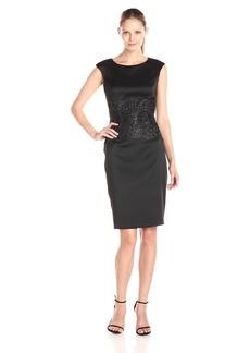 Alex Evenings Women's Short Cap Sleeve Shift Dress with Embroidered Waist Detail