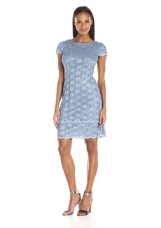 Alex Evenings Women's Short Cap Sleeve Shift Dress with Two Detail Daisy Lace