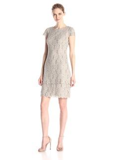 Alex Evenings Women's Short Cap Sleeve Shift Dress with Double Tier Hem (Petite and Regular Sizes)