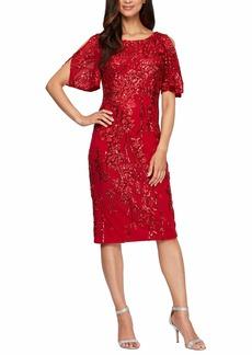 Alex Evenings Women's Short Cold Shoulder Flutter Sleeve Dress (Petite Regular)  6P