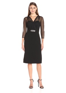 Alex Evenings Women's Short Dress with Illusion Neckline and Sleeves