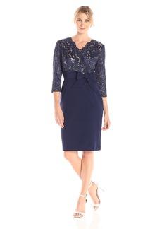 Alex Evenings Women's Short Lace Bodice Dress with Faux Front Tie Belt