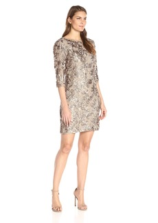 Alex Evenings Women's Short Rosette Shift Dress with 3/4 Sleeves