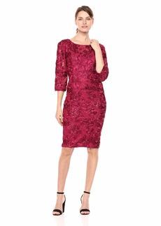 Alex Evenings Women's Short Rosette Shift Dress with Illusion Neckline