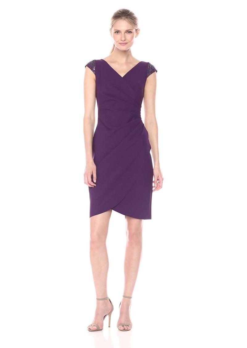 Alex Evenings Women's Slimming Short Sheath Dress with Cap Sleeves