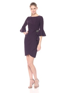 Alex Evenings Women's Short Sheath Dress with Bell Sleeves and Embellished Hip