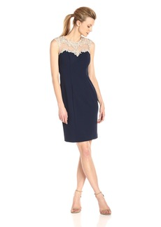 Alex Evenings Women's Short Shift Dress with Embroidered Bodica and Illusion Back