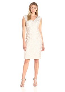 Alex Evenings Women's Short Shift Dress With Embroidered Neckline