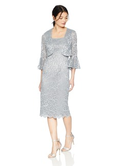 Alex Evenings Women's Short Shift Jacket Dress with Bell Sleeves (Petite and Regular)  10P