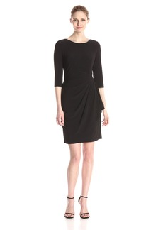 Alex Evenings Women's Short Side Ruched Dress with 3/4 Sleeve and Rhinestone Detail