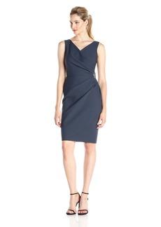 Alex Evenings Women's Short Side Ruched Dress with Cascade Ruffle Skirt Charcoal