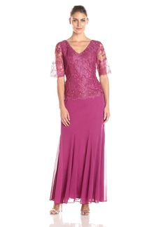 Alex Evenings Women's Short Sleeve V-Neck A-Line Gown with Lace Bodice and Mesh Skirt with Matching Scarf