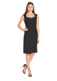 Alex Evenings Women's Short Sleeveless Sheath Dress with Beaded Neck Detail