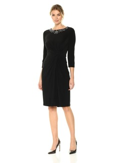Alex Evenings Women's Short Twist Front Dress With Beaded Neckline (Petite and Regular Sizes)