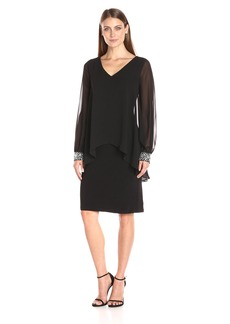 Alex Evenings Women's Short V-Neck Dress with Caplet Overlay and Beaded Cuff Sleeves