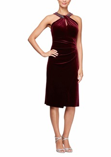 Alex Evenings Women's Short Velvet Shift Dress with Beaded Halter Neck