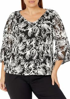 Alex Evenings Women's Size Embroidered Blouse with Bell Sleeves Shirt Missy